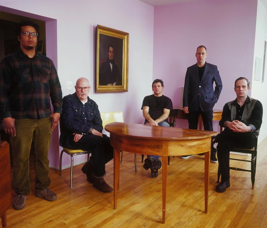 Jeff Parker, Doug McCombs, John Herndon, Dan Bitney and John McEntire of Tortoise. Photo: Whitney Bradshaw